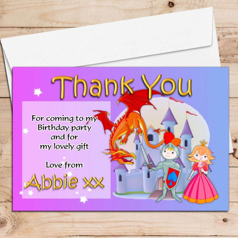 10 Personalised Knight Amp Princess Birthday Thank You Cards